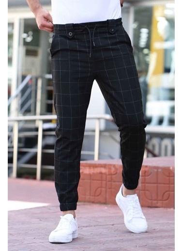 Madmext Belden Bağcıklı Cep Detaylı Kare Desenli Erkek Jogger Siyah